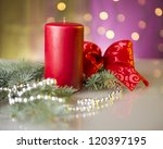 advent candle with pine... | Shutterstock . vector #120397195