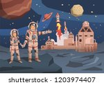 couple of astronauts observing...   Shutterstock . vector #1203974407