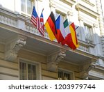 flags of european and north... | Shutterstock . vector #1203979744