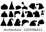 silhouette santa hat  set   Shutterstock .eps vector #1203986611