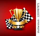 realistic golden trophy with... | Shutterstock .eps vector #1203987871
