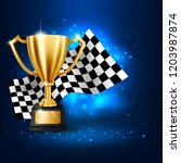 realistic golden trophy with... | Shutterstock .eps vector #1203987874