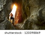 young climber standing with... | Shutterstock . vector #120398869