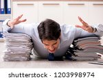 extremely busy employee working ...   Shutterstock . vector #1203998974