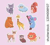 set of cute animals isolated on ... | Shutterstock .eps vector #1204008937