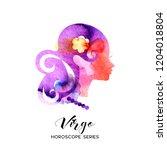 virgo zodiac sign. beautiful... | Shutterstock .eps vector #1204018804