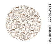 circle frame with muffins... | Shutterstock .eps vector #1204019161