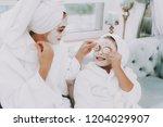 spa day in beauty salon. towel...   Shutterstock . vector #1204029907