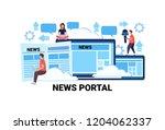 people working news portal... | Shutterstock .eps vector #1204062337