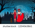 women couple wearing witch... | Shutterstock .eps vector #1204063861