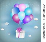 paper art style of white gift... | Shutterstock .eps vector #1204086964