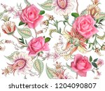 fantasy floral seamless pattern ... | Shutterstock .eps vector #1204090807