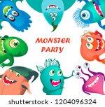 cute cartoon monsters set...   Shutterstock .eps vector #1204096324