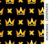 seamless pattern with golden... | Shutterstock .eps vector #1204096354