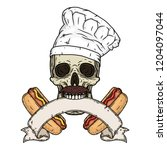 skull chef with hotdogs.... | Shutterstock .eps vector #1204097044
