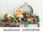 fall vegetarian food ingredient ... | Shutterstock . vector #1204118764
