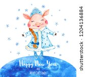 watercolor new year greeting... | Shutterstock . vector #1204136884
