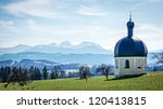 historic chapel at the european alps - irschenberg - germany - wilparting - stock photo