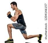 one caucasian fitness man... | Shutterstock . vector #1204146157