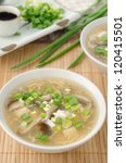 two bowls of chinese spicy soup with egg, shiitake mushrooms, tofu and green onions - stock photo