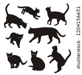 Stock vector cat silhouette set isolated on white background 1204156651