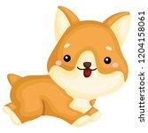 a really happy pure breed corgi ... | Shutterstock .eps vector #1204158061