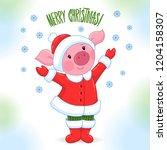 vector cute small pink pig... | Shutterstock .eps vector #1204158307