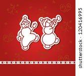 happy dancing snowmen ...   Shutterstock .eps vector #120416995