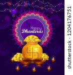 happy dhanteras diwali light... | Shutterstock .eps vector #1204176751