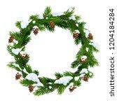 christmas snowy wreath frame of ... | Shutterstock .eps vector #1204184284