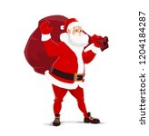 santa claus with bag of gifts.... | Shutterstock .eps vector #1204184287