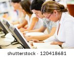group of students studying in a ... | Shutterstock . vector #120418681