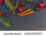 christmas natural decoration... | Shutterstock . vector #1204192537
