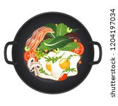 hot frying pan with fried eggs  ... | Shutterstock .eps vector #1204197034