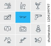 illustration of 12 hobby icons... | Shutterstock . vector #1204199797