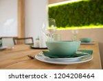 modern tableware with ceramic...   Shutterstock . vector #1204208464