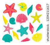 seashells set. design for... | Shutterstock . vector #1204211617
