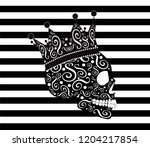 king skull icon side on ... | Shutterstock .eps vector #1204217854