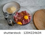 minced meat  eggs  pepper  salt ... | Shutterstock . vector #1204224634