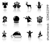 Set of black Christmas icons on white background, illustration - stock vector