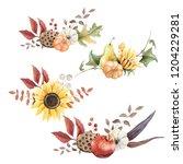 watercolor autumn leaves... | Shutterstock . vector #1204229281