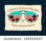 california surfer tee graphic.... | Shutterstock .eps vector #1204234237