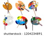 set.wooden palette for oil... | Shutterstock .eps vector #1204234891