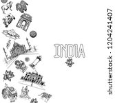 hand drawn sketch style india... | Shutterstock .eps vector #1204241407
