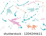 hand drawn set of bright ink...   Shutterstock .eps vector #1204244611