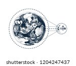 hand drawn earth and moon... | Shutterstock .eps vector #1204247437