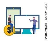 businessmen computer smartphone ... | Shutterstock .eps vector #1204248811
