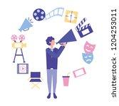 man holding megaphone... | Shutterstock .eps vector #1204253011