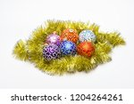 christmas ornaments balls lay... | Shutterstock . vector #1204264261