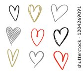 set of nine hand drawn heart.... | Shutterstock .eps vector #1204269091